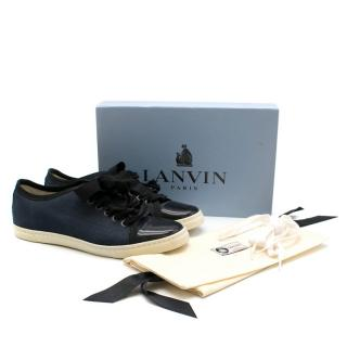 Lanvin Navy canvas low rise sneakers