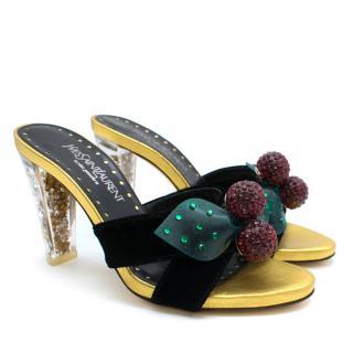 Yves Saint Laurent Limited Edition Velvet Cherry Sandals