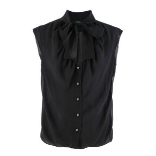 Chanel Black Semi-Sheer Pussy Bow Blouse