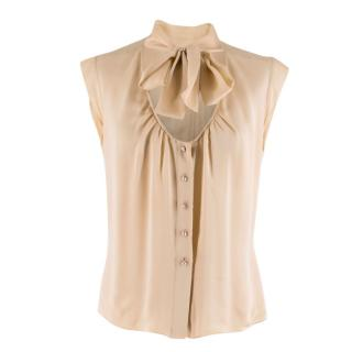 Chanel Nude Semi-Sheer Pussy Bow Blouse