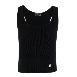 Chanel Black Ribbed Knit Cropped Top