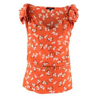 Gucci Red Silk Floral Printed Top with Belt