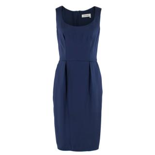 Yves Saint Laurent Blue Silk Midi Dress