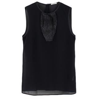 Wolford Black Sleeveless Top With Satin Pleated Bib