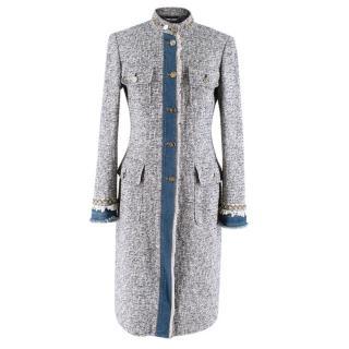 Dolce & Gabbana Navy & White Tweed Coat with Denim Trim