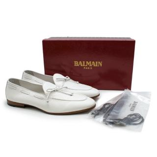 Balmain White Grained Leather Loafers