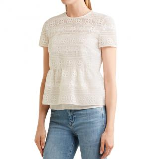RED Valentino Crocheted Lace Peplum Top in White