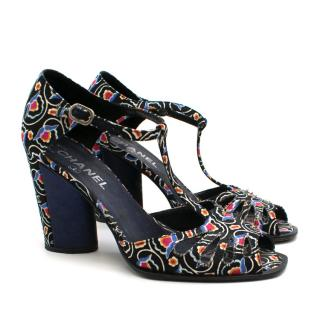 Chanel Floral Printed Peep-toe Cut-Out Sandals