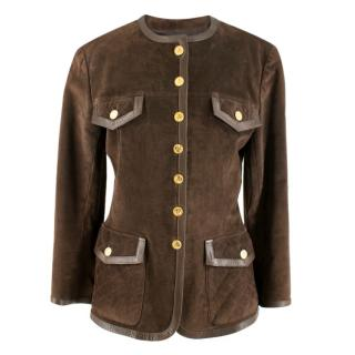 Chanel Brown suede Jacket with gold-tone buttons