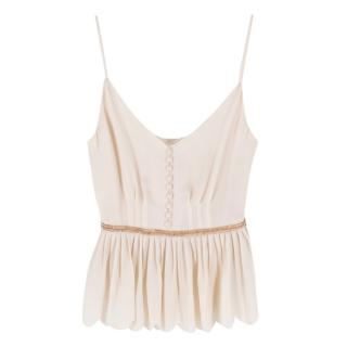 Phillip Lim Cream Silk Blouse With Embellished Waistband