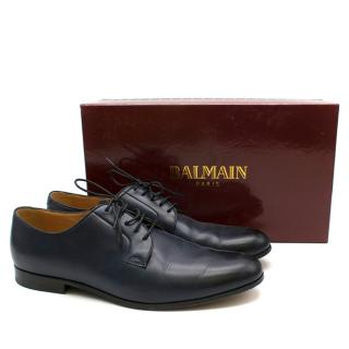 Balmain Navy Leather Classic Oxford Shoes