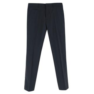 Roberto Cavalli Navy Trousers With Side Stripe