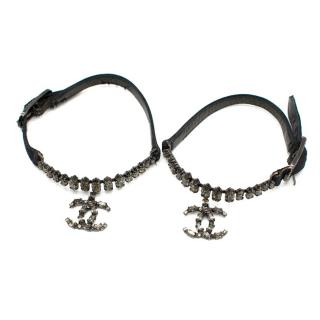 Chanel Black Satin and Marquise Crystal Anklet Set