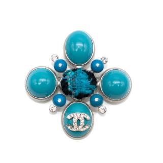 Chanel Turquoise Enamel, Tweed & Crystal Brooch