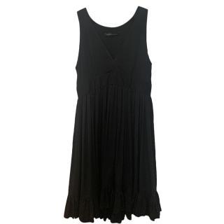 Balenciaga Black Draped Silk Dress
