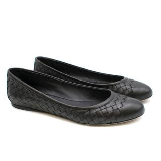 Bottega Veneta Black Woven Leather Ballerina Flats