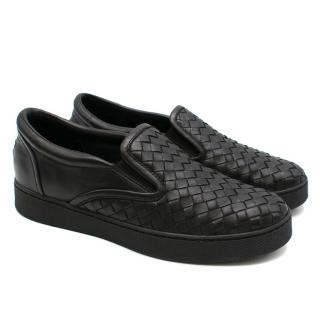 Bottega Veneta Black Woven Leather Slip-On Sneakers