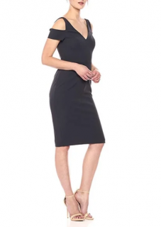 Vera Wang anthracite cold shoulder dress