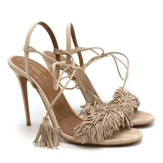 Aquazurra Nude Suede Wild Thing Sandals