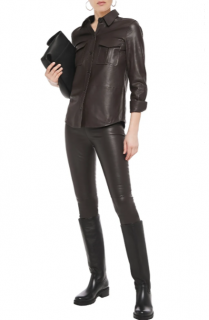 Balenciaga Dark Brown Leather Leggings