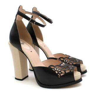 Fendi Black Leather Floral Lasercut Sandals