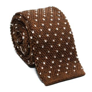 Fairfax Brown & White Knit Silk Square Tie