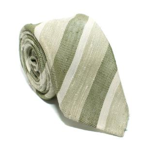 Franco Minucci Green Striped Silk Tie