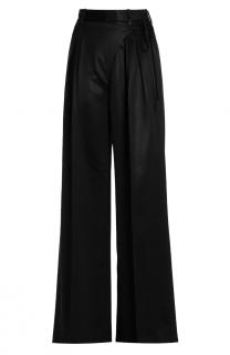 T by Alexander Wang Satin Suiting Wide-Leg Wrap-Front Pants