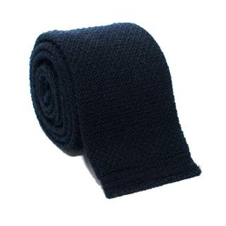 Kilgour Navy Wool Square Cut Tie