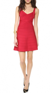 Herve Leger Lipstick Red Jamie A Line Dress