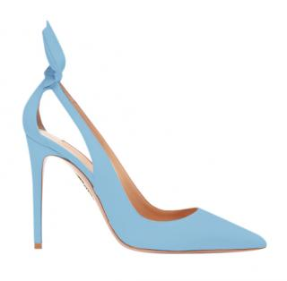 Aquazzura Baby Blue Suede Denevue 105 Pumps
