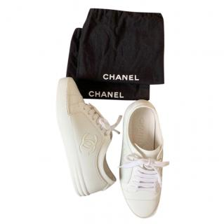 Chanel White Leather Low Top Sneakers