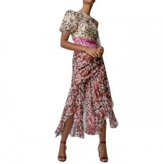 AMUR Jaylah One-Shoulder Printed Silk-Chiffon Midi Dress