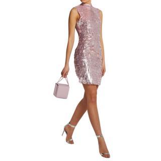 Rachel Gilbert Pink Sequin Embellished Mini Dress