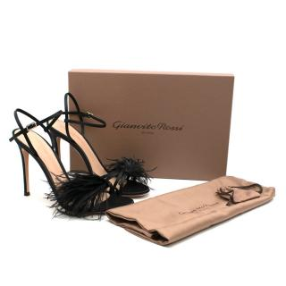 Gianvito Rossi Black Slingback Sandal with Feather Detail