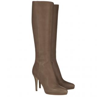 Jimmy Choo Glynn Taupe Grainy Leather Boots
