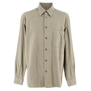 Ermenegildo Zegna Olive Green Textured Cotton Blend Shirt