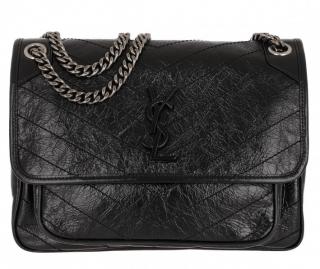 Saint Laurent Black Vintage Leather Large Niki Shoulder Bag