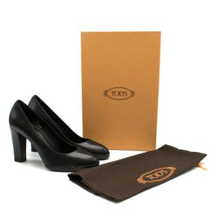 Tod's Black Leather Heeled Pumps