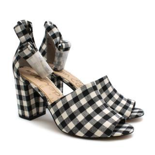 Sam Edelman Black & White Odele gingham Heeled Sandals