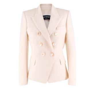 Balmain Double Breasted Cream Jacket w/ Mother of Pearl Style Buttons