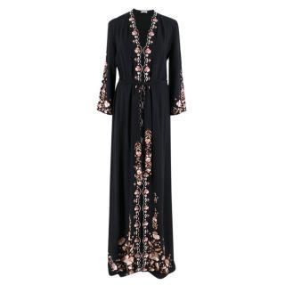 Vilshenko Black Floral Embroidered Dress