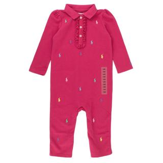 Ralph Lauren Kids Pink Cotton Polo Coverall