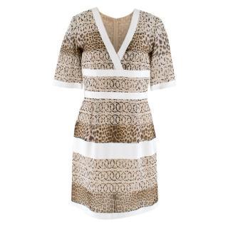 Giambattista Valli Leopard Print Embroidered Silk Mini dress