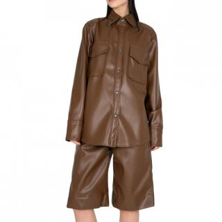 Studio Cut Brown Vegan Leather pocket shirt