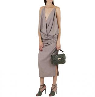 Jacquemus Beige Sao draped wool dress