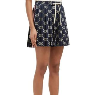 Gucci Navy Pleated GG Cotton-Jacquard Shorts