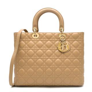 Dior Beige Large Lady Dior Bag