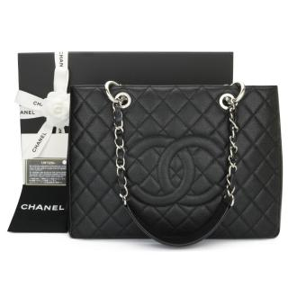 Chanel Caviar Leather Black Grand Shopping Tote