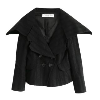 Christian Dior Black Wool Blend Jacket with Oversize Collar